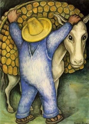 Diego Rivera - Man Loading Donkey with Firewood, 1938