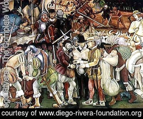 The Conquest or Arrival of Hernan Cortes in Veracruz, from the cycle Pre-Hispanic and Colonial Mexico,  1951