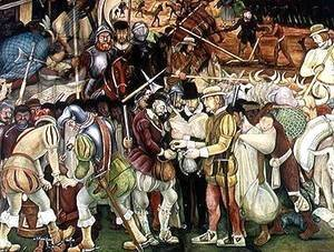 Diego Rivera - The Conquest or Arrival of Hernan Cortes in Veracruz, from the cycle Pre-Hispanic and Colonial Mexico,  1951