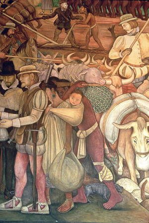 Diego Rivera - The Conquest, or Arrival of Hernan Cortes in Veracruz, from the series Epic of the Mexican People, 1929-35