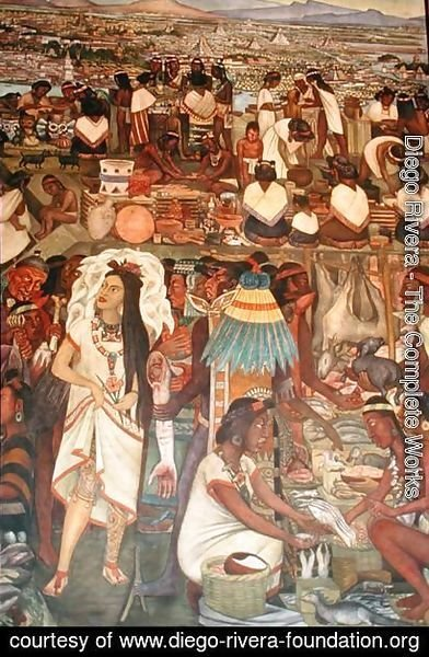 Diego Rivera - The Market of Tlatelolco (detail from the series Epic of the Mexican People) 1929-35 (