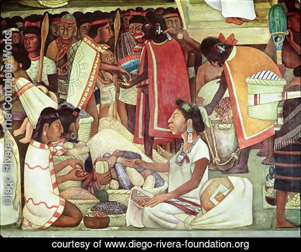 The Great City of Tenochtitlan, detail of women selling maize, 1945