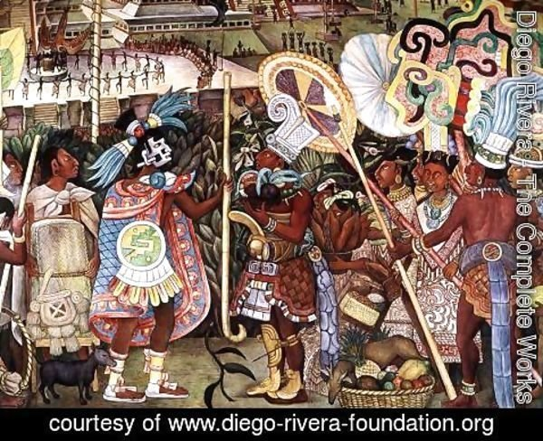 Diego Rivera - The Culture of Totonaken, detail of Totonac nobility trading with Aztec merchants 1950