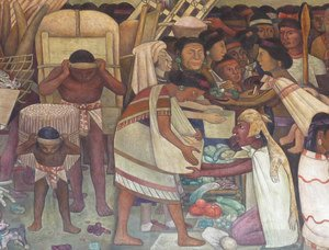 Diego Rivera - The Great City of Tenochtitlan, detail of a woman selling vegetables, 1945