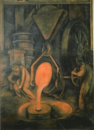 Diego Rivera - The Foundry,  Pouring the Crucible, from the Court of Labour, 1923