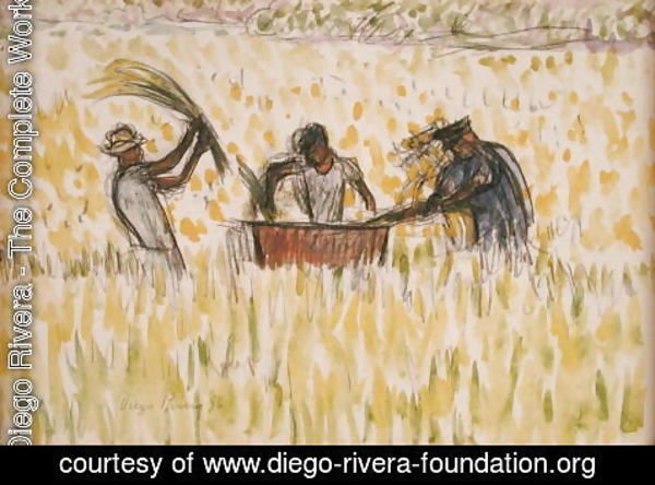 Diego Rivera - Rice Pickers 1956
