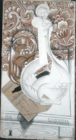 Diego Rivera - Still Life with Bottle  1914