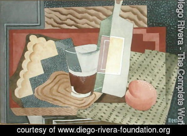Diego Rivera - Still Life with Bottle and Glass 1945