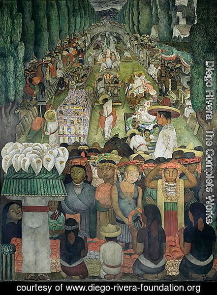 Diego Rivera - Friday of Sorrows on the Canal of Santa Anita, in the Court of the Fiestas, 1924