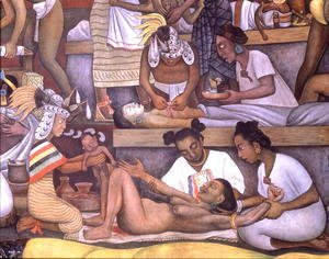 Diego Rivera - The History of Medicine in Mexico  The People's Demand for Better Health, detail of childbirth, 1953