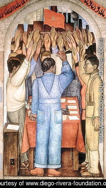 Diego Rivera - The Protest, from the cycle of the Political Vision of the Mexican People (Court of Fiestas) 1923-24