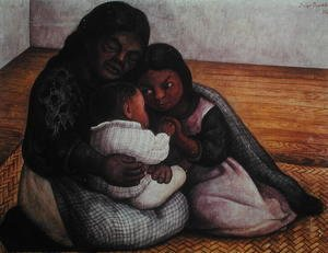 Diego Rivera - A Poor Family in the Street 1934