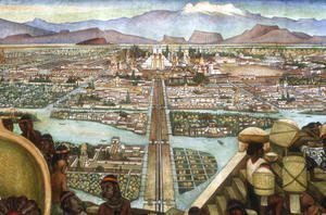 Detail from  The Great City of Tenochtitlan , from the Pre-Hispanic and Colonial Mexico  cycle, 1945-52
