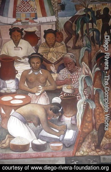 Diego Rivera - Cultivation of Maize and Preparation of Pancakes, detail from the Huastec Civilisation, 1950