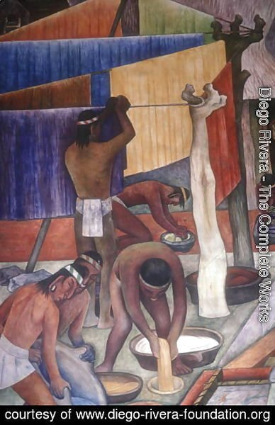 Diego Rivera - Dyeing Fabrics, detail from  The Tarascan Civilisation, 1942