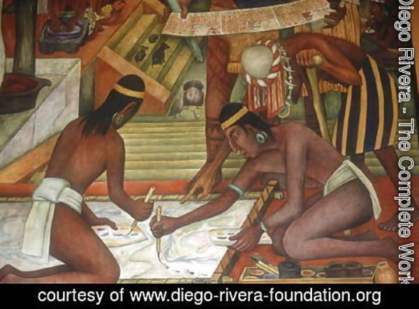 Diego Rivera - Painting Textiles, detail from The Tarascan Civilisation, 1942