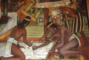 Painting Textiles, detail from The Tarascan Civilisation, 1942