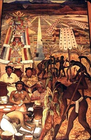 The Huastec Civilisation, detail showing the cultivation of the millenarian plant and natives making various corn dishes, 1950