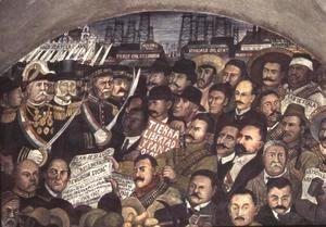 Diego Rivera - History of Mexico from the Conquest to 1930, detail of a mural from the cycle Epic of the Mexican People,  1929-31