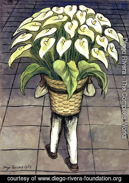 Diego Rivera - Man Loaded with Lilies  1950