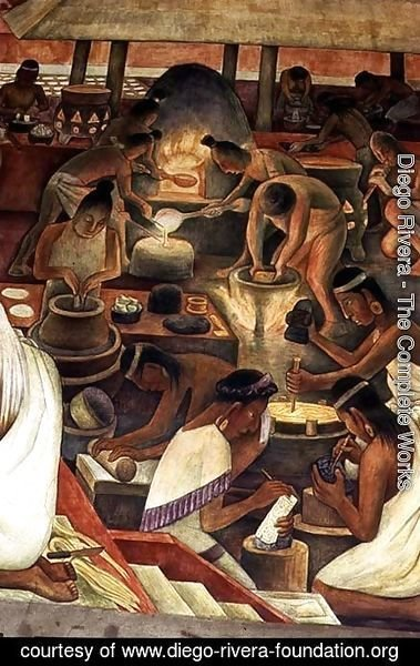 Diego Rivera - Zapotec people making gold and mosaic jewellery, part of the series, Epic of the Mexican People, 1929-35