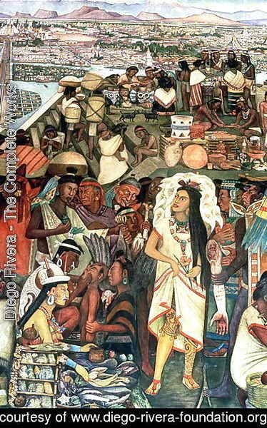 Diego Rivera - The Market of Tlatelolco including Dona Marina figure, part of the series, Epic of the Mexican People,  1929-35