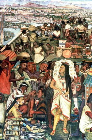 The Market of Tlatelolco including Dona Marina figure, part of the series, Epic of the Mexican People,  1929-35