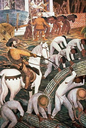Diego Rivera - Slavery in the Sugar Plantation, Tealtenango, Morelos, from the series, History of Cuernavaca and Morelos, 1930-1
