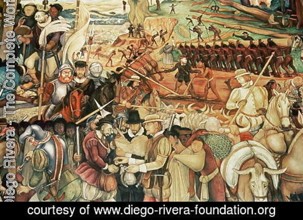 Diego Rivera - Colonisation, The Great City of Tenochtitlan, detail from the mural, Pre-Hispanic and Colonial Mexico, 1945-52