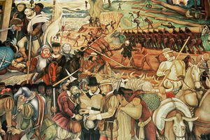 Colonisation, The Great City of Tenochtitlan, detail from the mural, Pre-Hispanic and Colonial Mexico, 1945-52