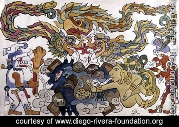 Diego Rivera - The Creation of the Earth, page from Popol Vuh