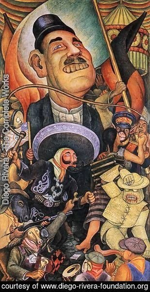 Diego Rivera - Carnival of Mexican Life Dictatorship 1936