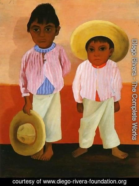 Diego Rivera - My Godfathers Sons Portrait of Modesto and Jesus Sanchez (Los hijos de mi compadre Retratos de Modesto y Jesus Sanchez) 1930
