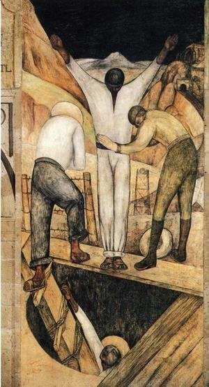 Diego Rivera - Political Vision of the Mexican People Exit from the Mine 1923