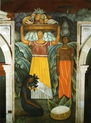 Diego Rivera - Political Vision of the Mexican People Tehuana Women (Mujeres tehuanas) 1923 Fresco north wall Ministry of Public Education Mexico City Mexico