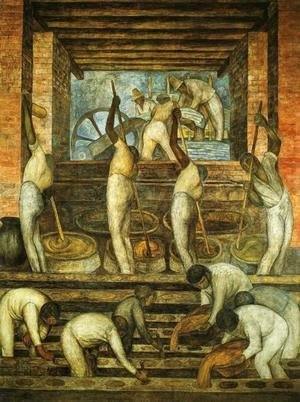 Diego Rivera - Political Vision of the Mexican People The Sugar Mill (El trapiche) 1923 Fresco Ground floor north wall Ministry of Public Education Mexico City