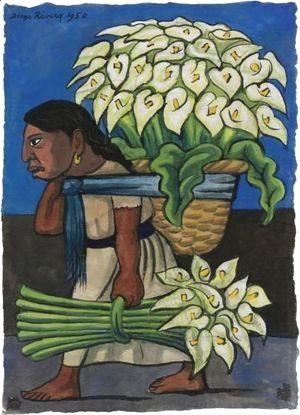 Woman With Calla Lillies On Her Back